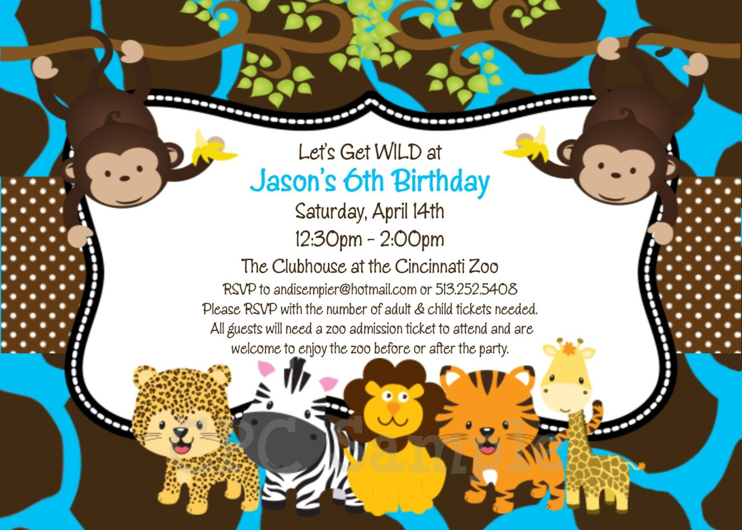 Jungle safari birthday invitation printable or printed jungle jungle safari birthday invite stopboris Choice Image