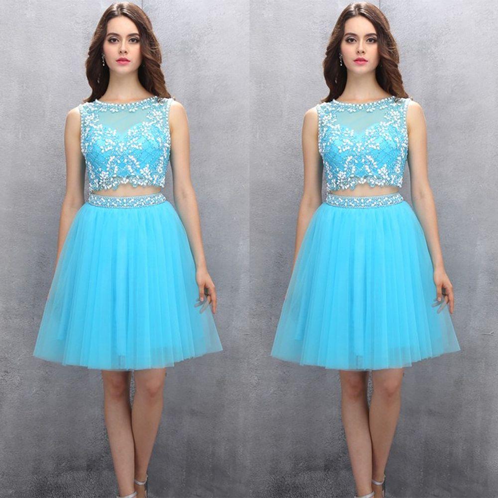 Elegant short light blue prom dress beaded tulle two piece prom