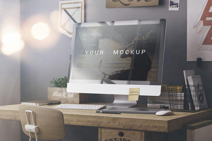mac desk mockup psd - Szukaj w Google | teom | Pinterest | Mac ...