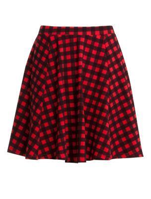Red Check Jersey Skater Skirt