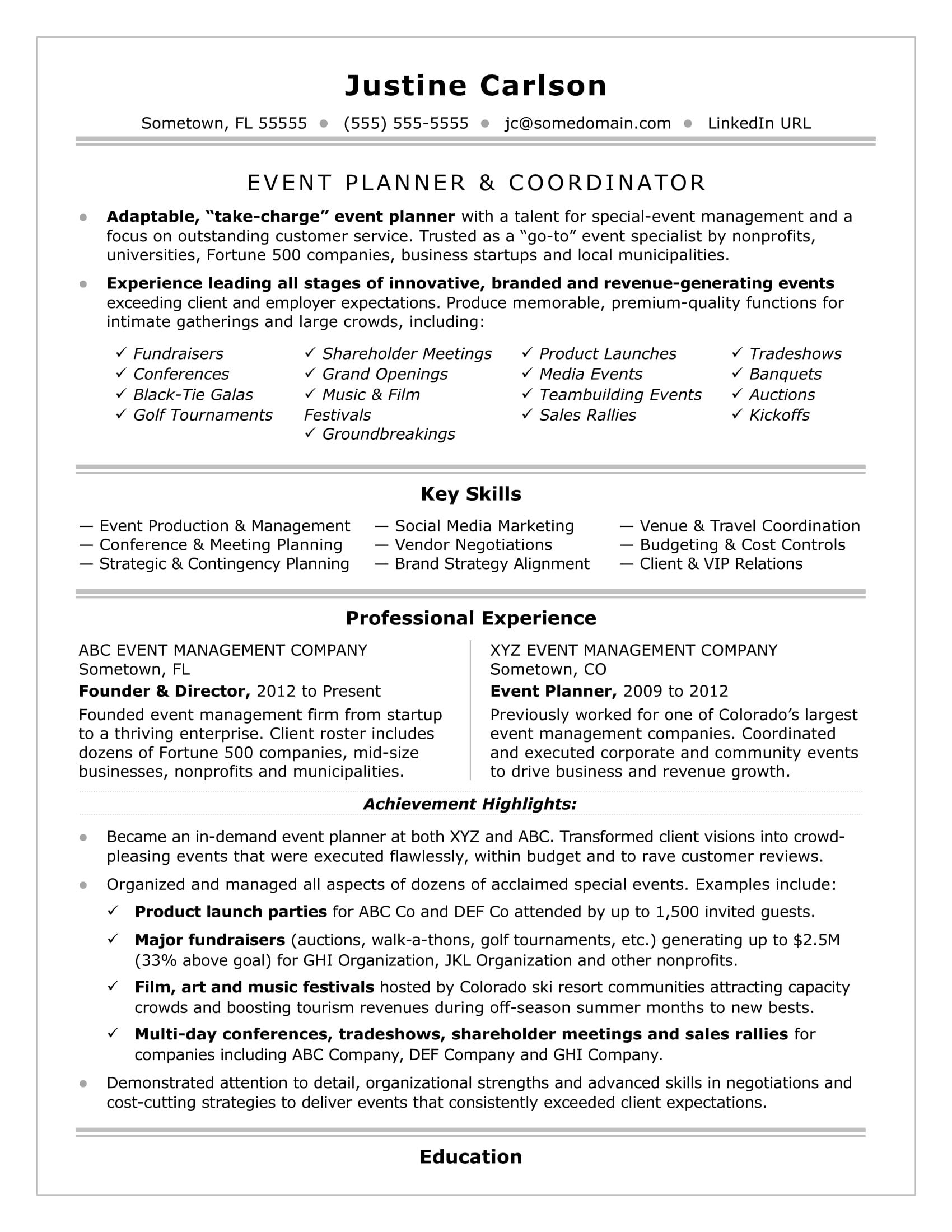 Events Coordinator Resume Amazing Event Coordinator Resume Sample  Resume Examples Sample Resume And .