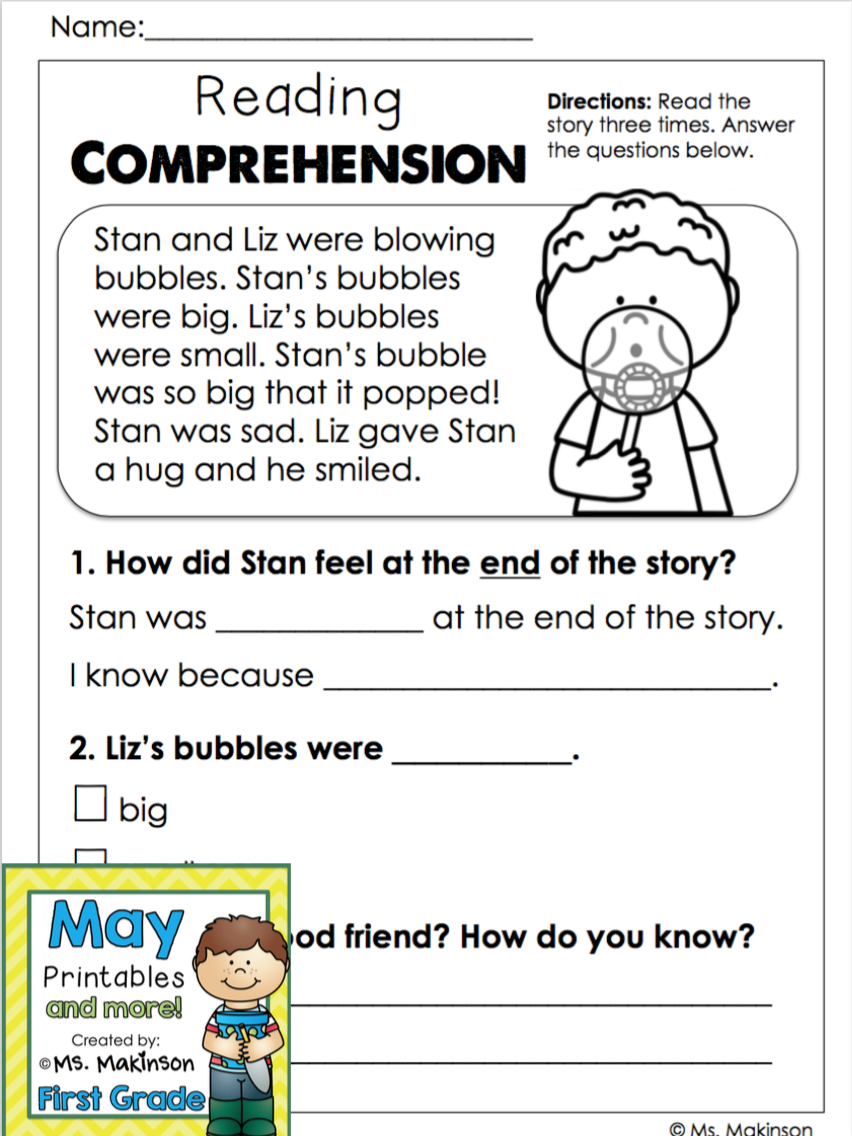 - May Printables - First Grade Literacy And Math (With Images