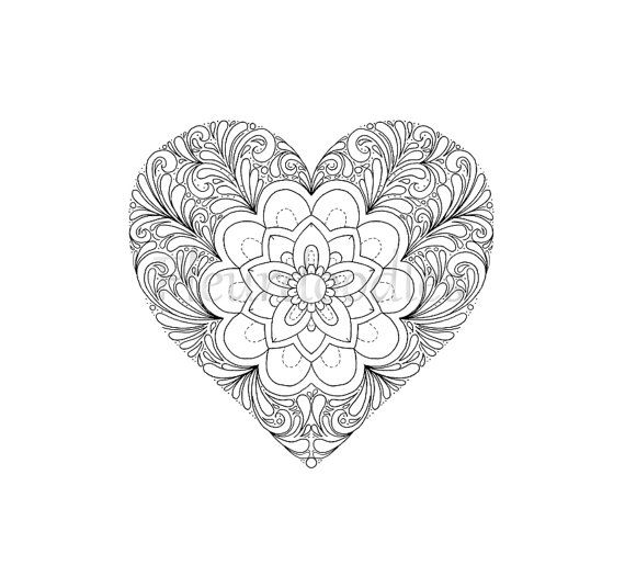 Adult Coloring Page Heart Valentines Day By Fleurdoodles On Etsy