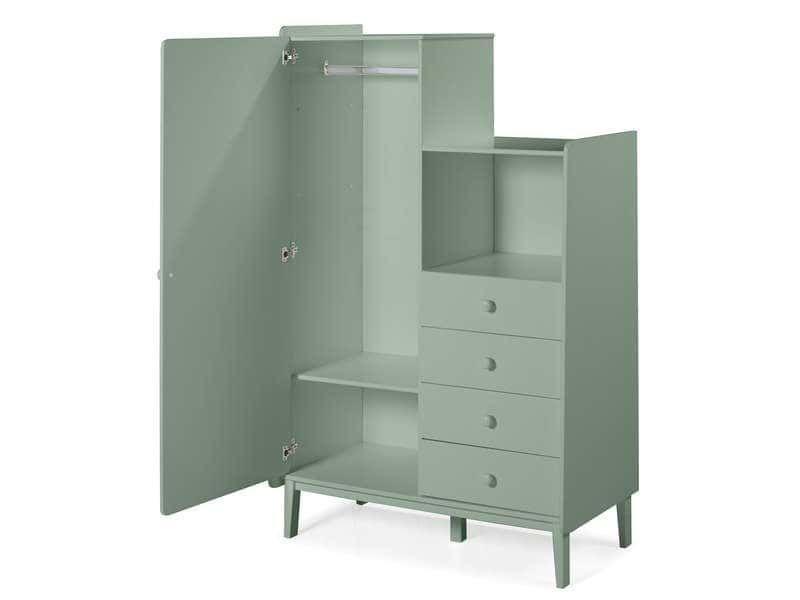 Armoire enfant 1 porte 4 tiroirs MONTY coloris vert amande ...