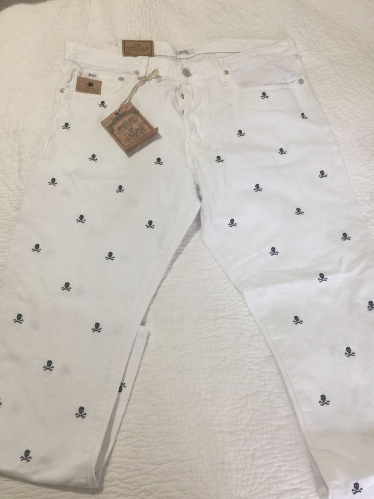 5c30be3c4 Nwt Polo Ralph Lauren White W/ Embroidered Skulls Varick Jeans Sz ...