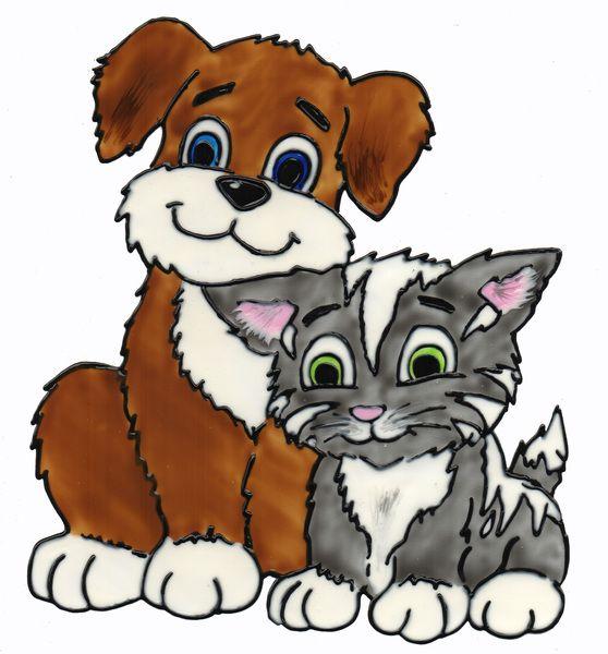 fensterschmuck - window color fensterbild hund und katze