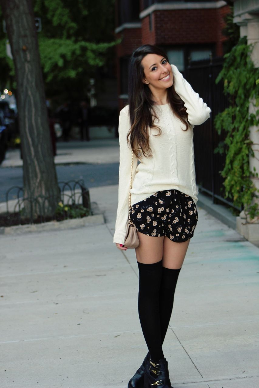 c68d7be15fe40 Just got some knee highs and shorts today! Love the idea of this cozy top  with them
