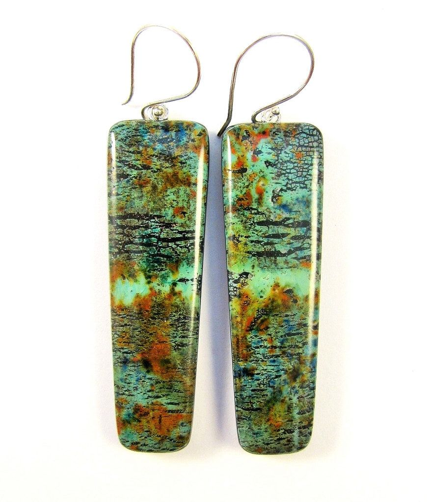 Polymer Clay Earrings - Fabulous Faux Collection - Southwestern Landscapes Collection - Faux Carico Lake Turquoise Wedge Earrings by DivaDesignsInc on Etsy https://www.etsy.com/listing/222992318/polymer-clay-earrings-fabulous-faux