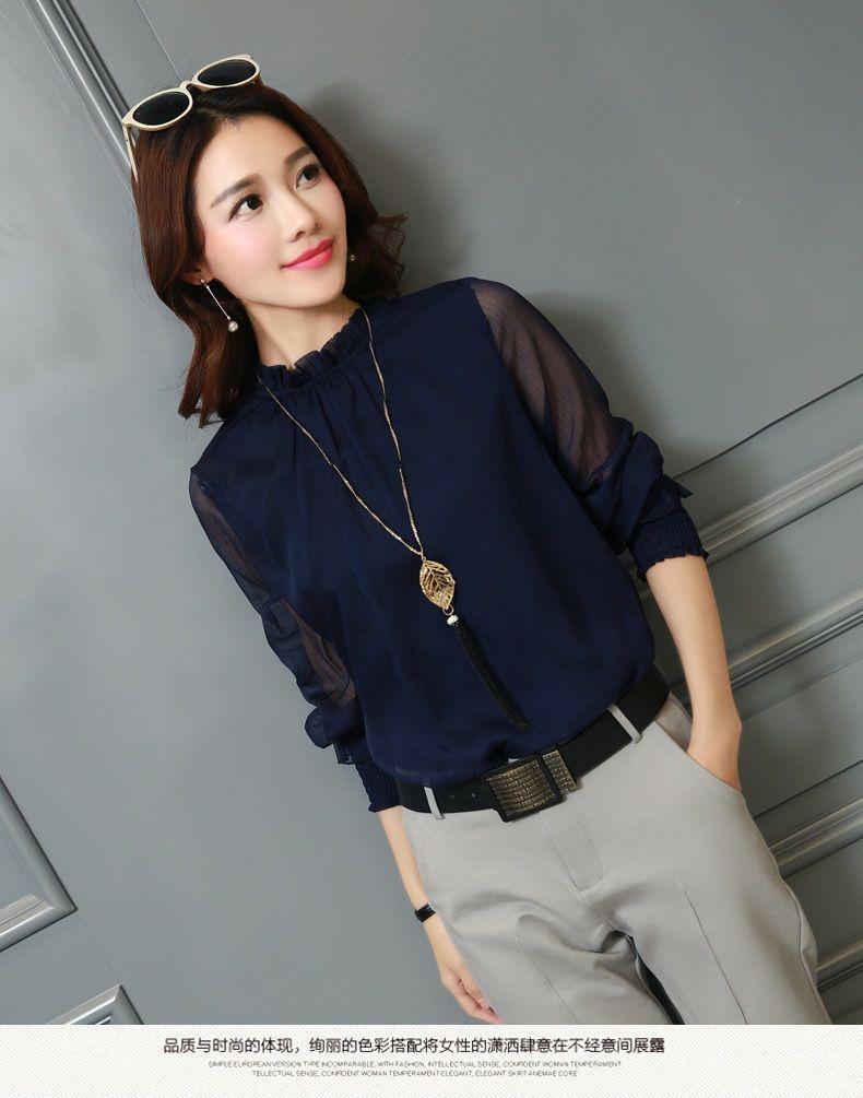 e95c614aaa240  2018  fashion  spring Autumn Chiffon  blouse New Korean  casual Ruffle  Collar Shirt Long Sleeve  womensfashion  shirts Tops Plus Size Blusas