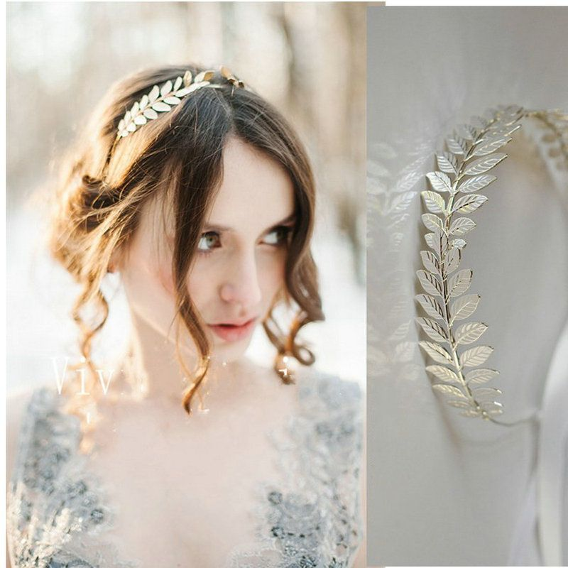 Gold   Silver Leaf Vintage Bridal Headband For Women Handmade Wedding Tiara  Headpiece Hair Accessories  424bfe3f15