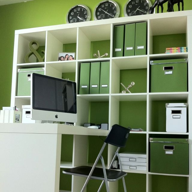 Office Expedit storage storage coordinates with wall color