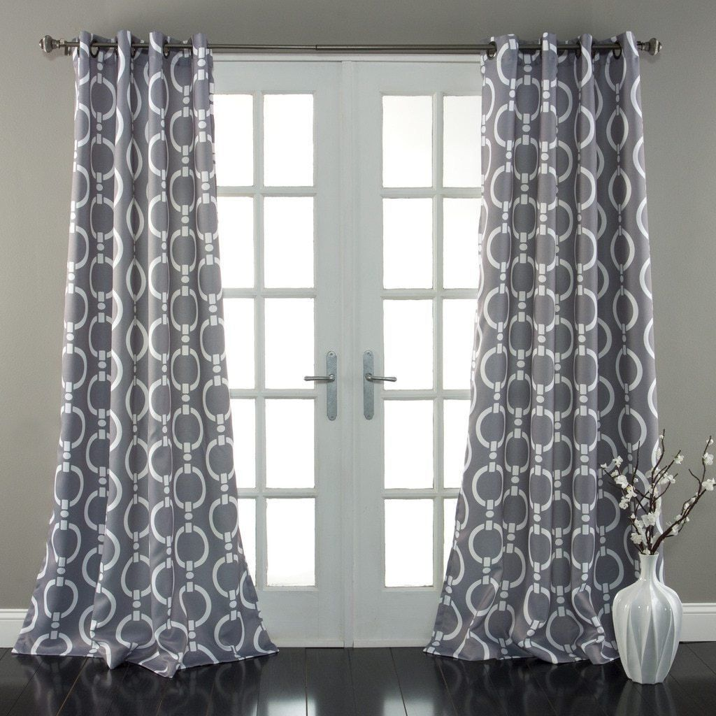 Boys 84 Inch Silver Grey White Abstract Curtains Panel Pair Set