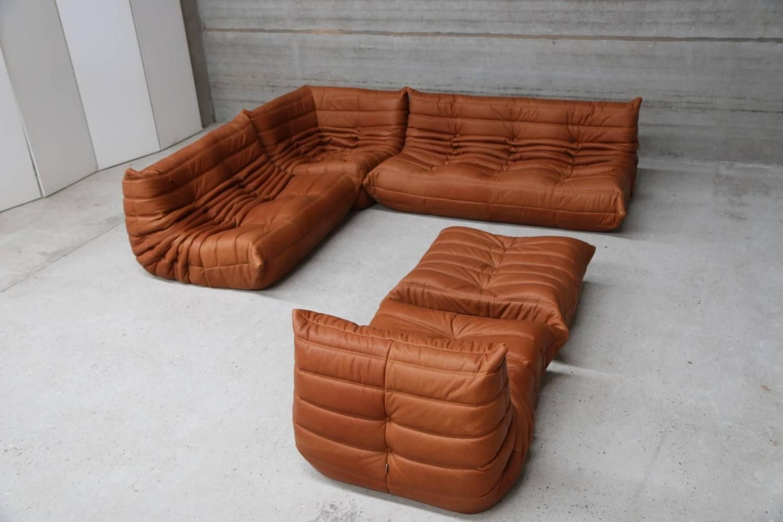 Vintage Ligne Roset Togo Set Reupholstered In Vintage Cognac Leather 2 Sectional Sofa Ligne Roset Mid Century Modern Interiors