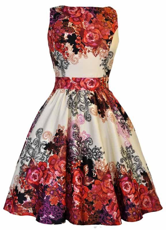 """42628d3a """"Tea Dress Red Roses"""" vintage stílusú alkalmi ruha Vintage Kjoler, Vintage  Outfits,"""