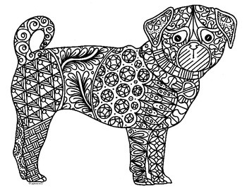 Pug Dog Zentangle Coloring Page 2018 Chinese New Year Horse Coloring Pages Dog Art Horse Coloring