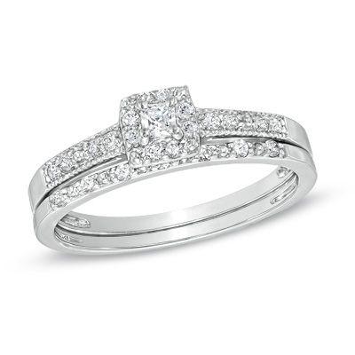 T W Princess Cut Diamond Frame Bridal Set In Sterling Silver