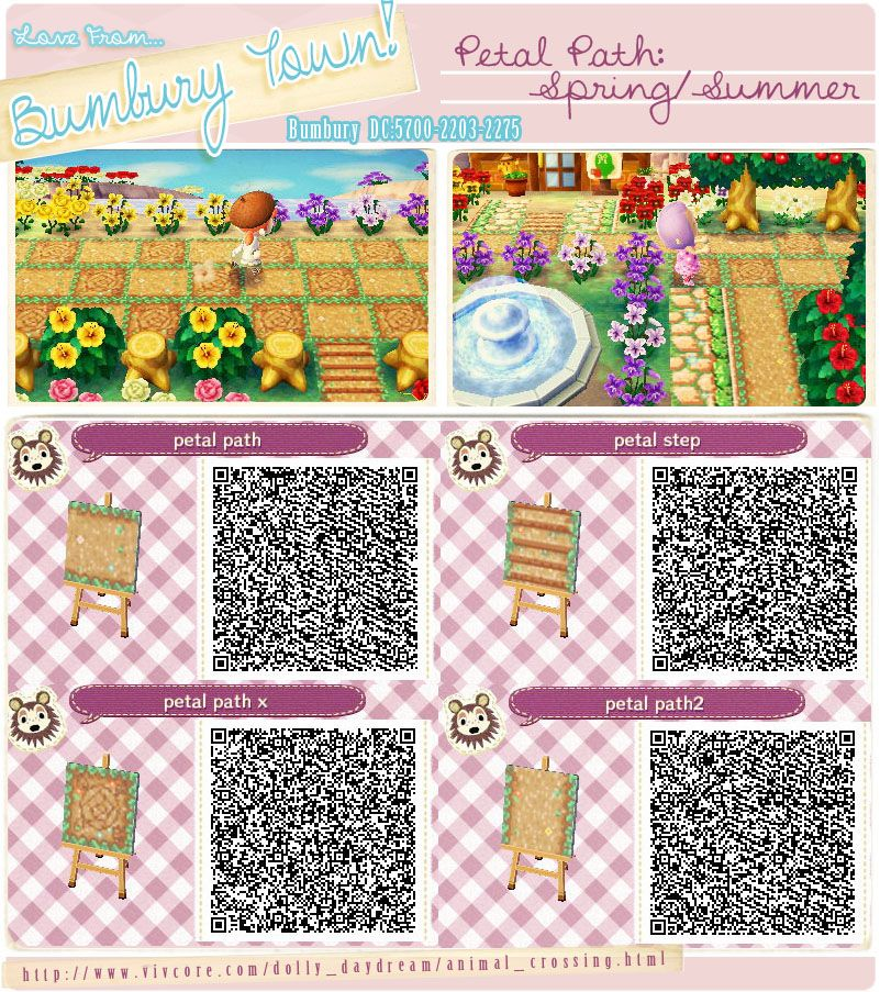 Animal Crossing New Leaf Qr Codes Petal Path Bumbury Lawn