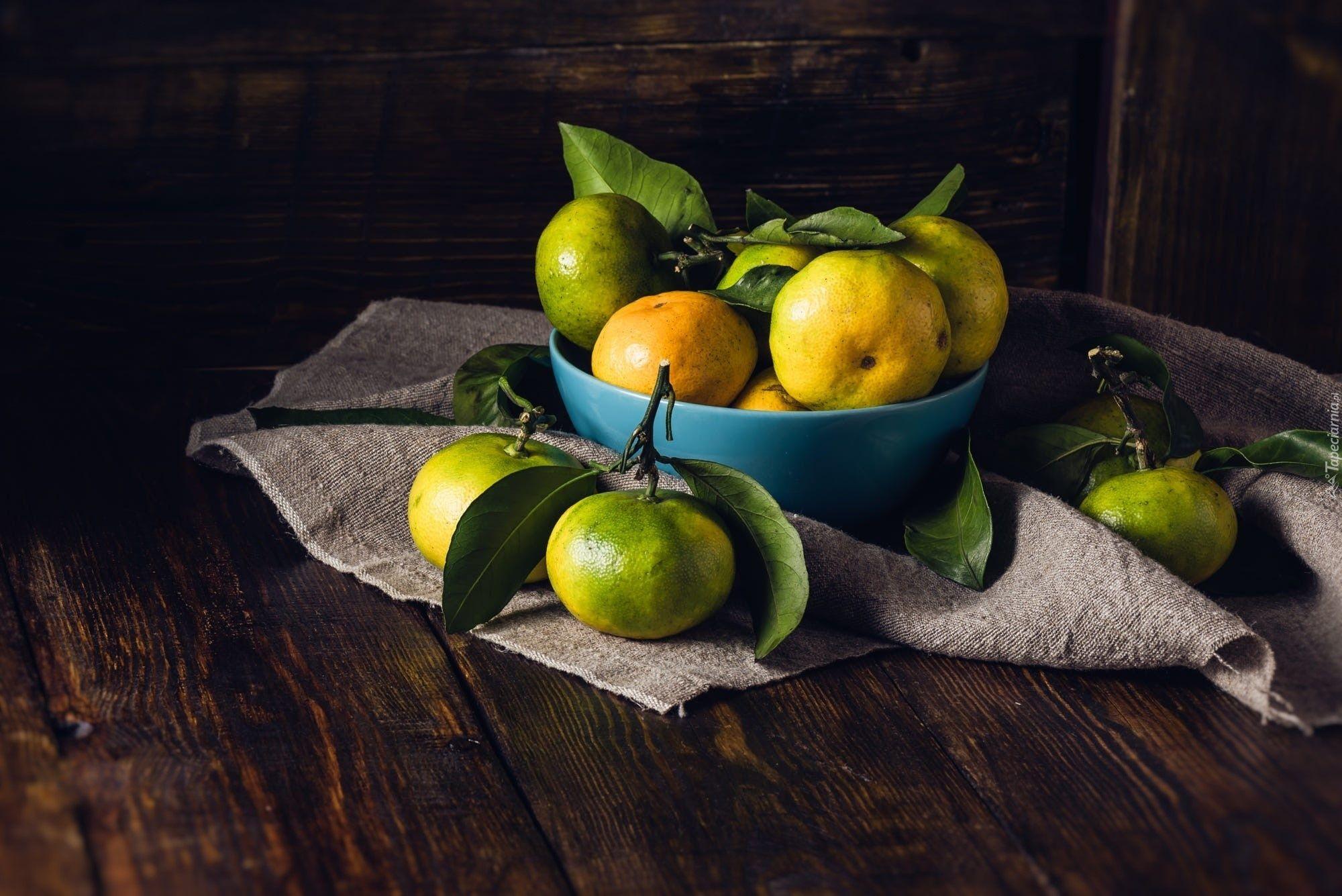Mandarynki Miska Liscie Serwetka Green Tangerine Still Life Drawing Blue Bowl