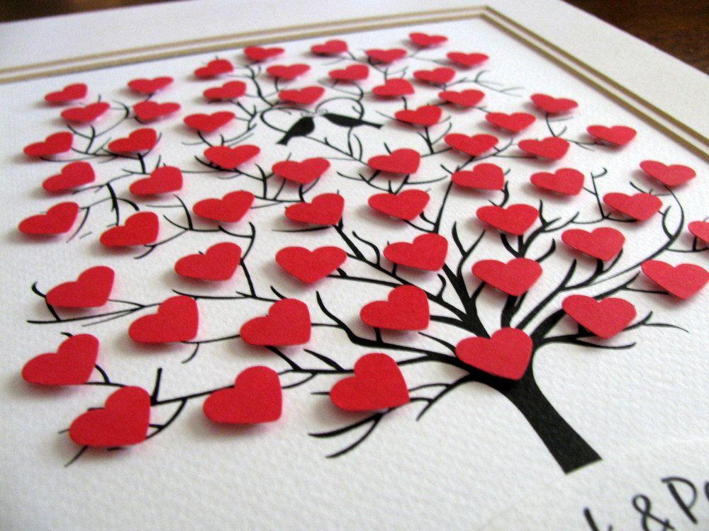 11 x 14 albero dei cuori Mini 3D. Anniversario. Il matrimonio. | Etsy