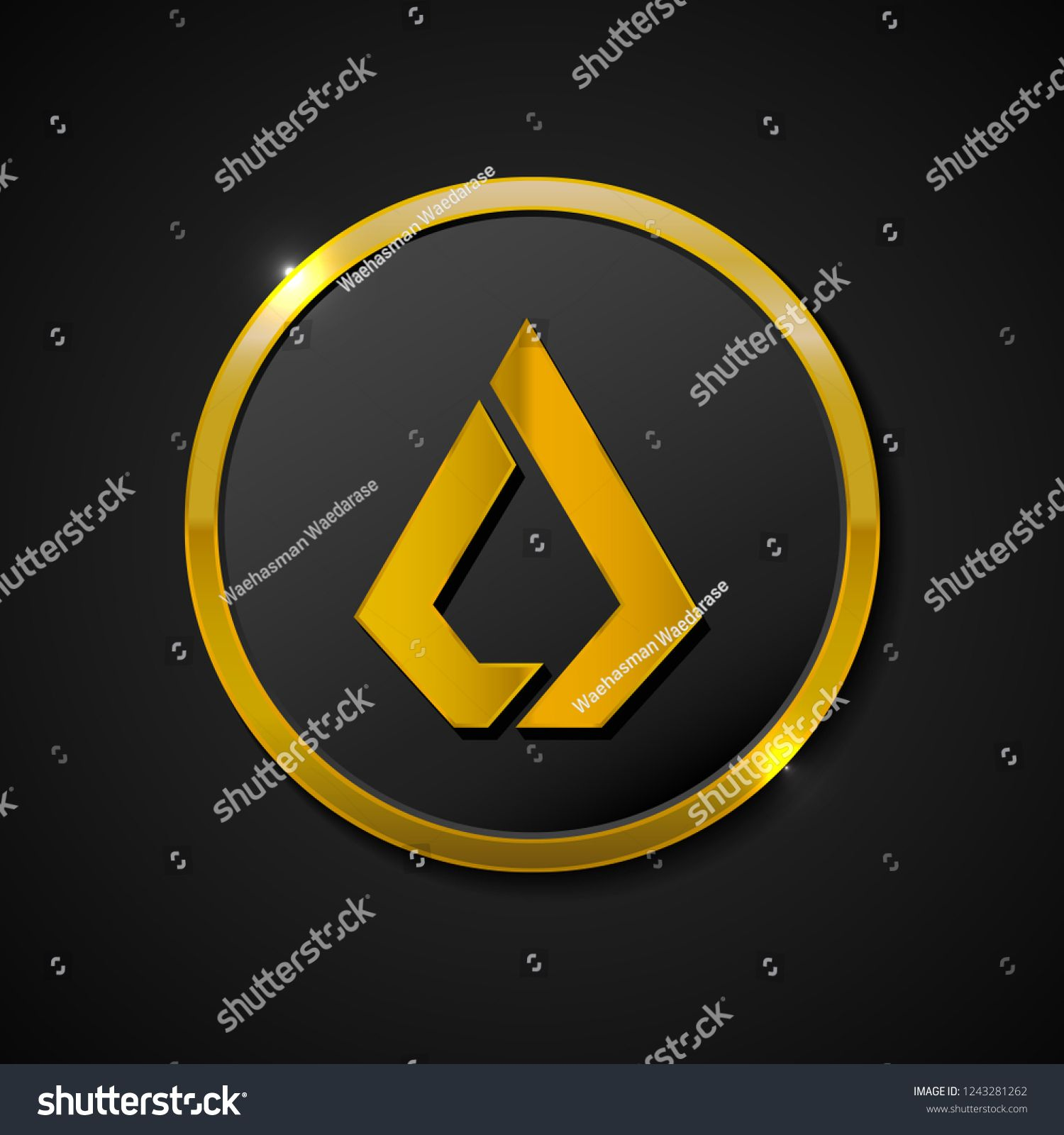 3d realistic gold coin icon  Digital currency  Crypto