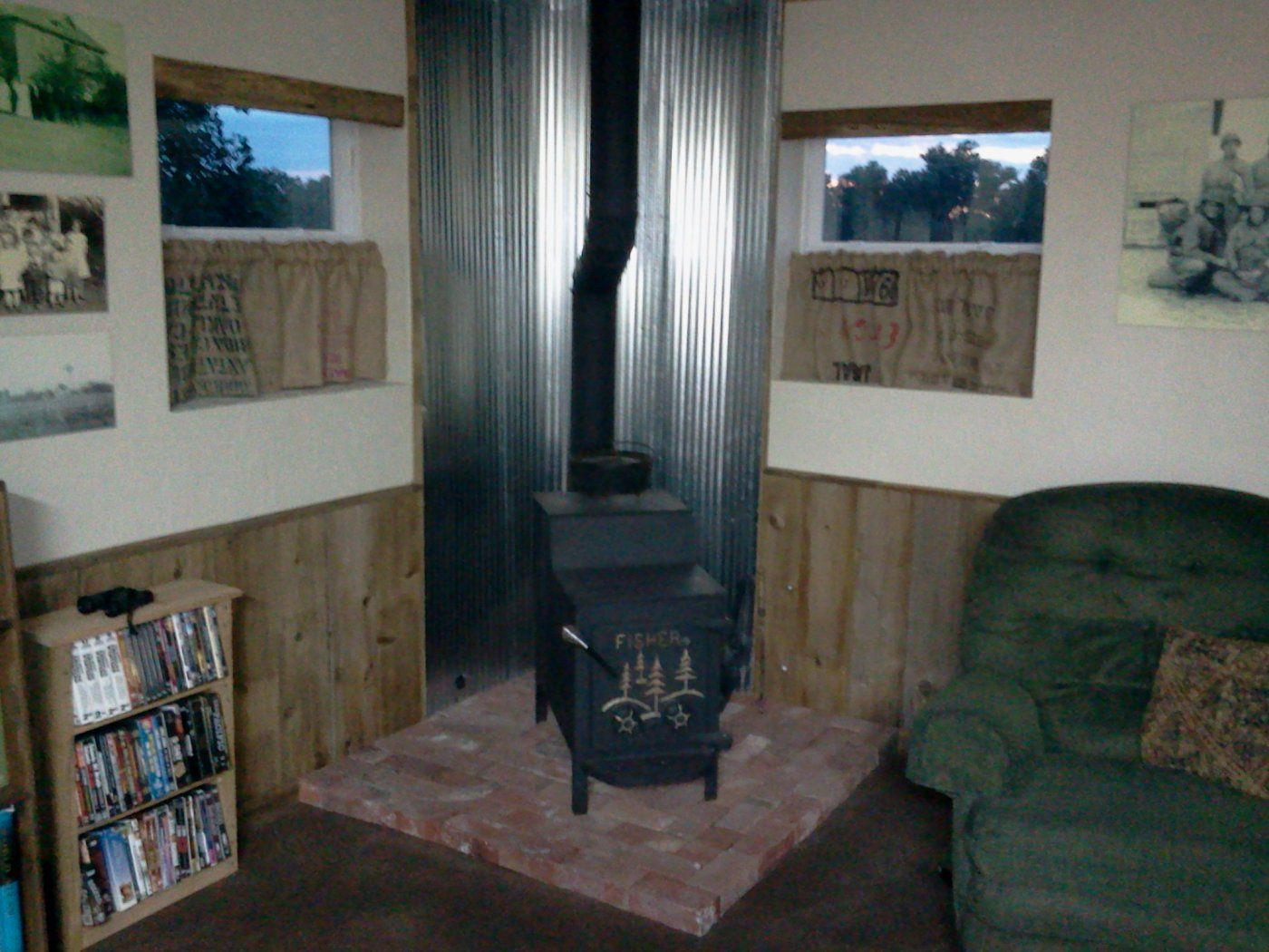 Wood stove surround ideas - Wood Stove Heat Shield Google Search