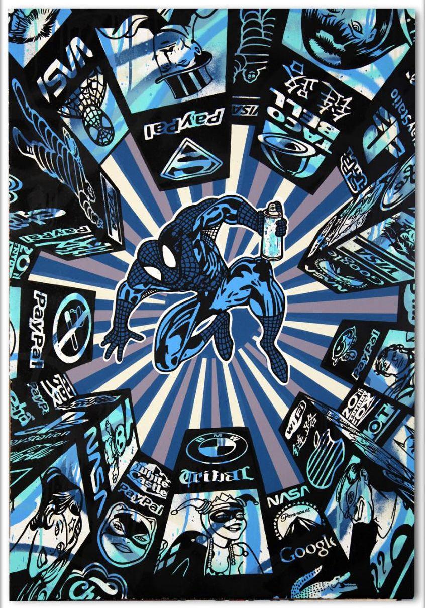 Speedy Graphito (1961-) I Spray My City (Blue Spiderman) http://www.denisbloch.com/object.php?id=913