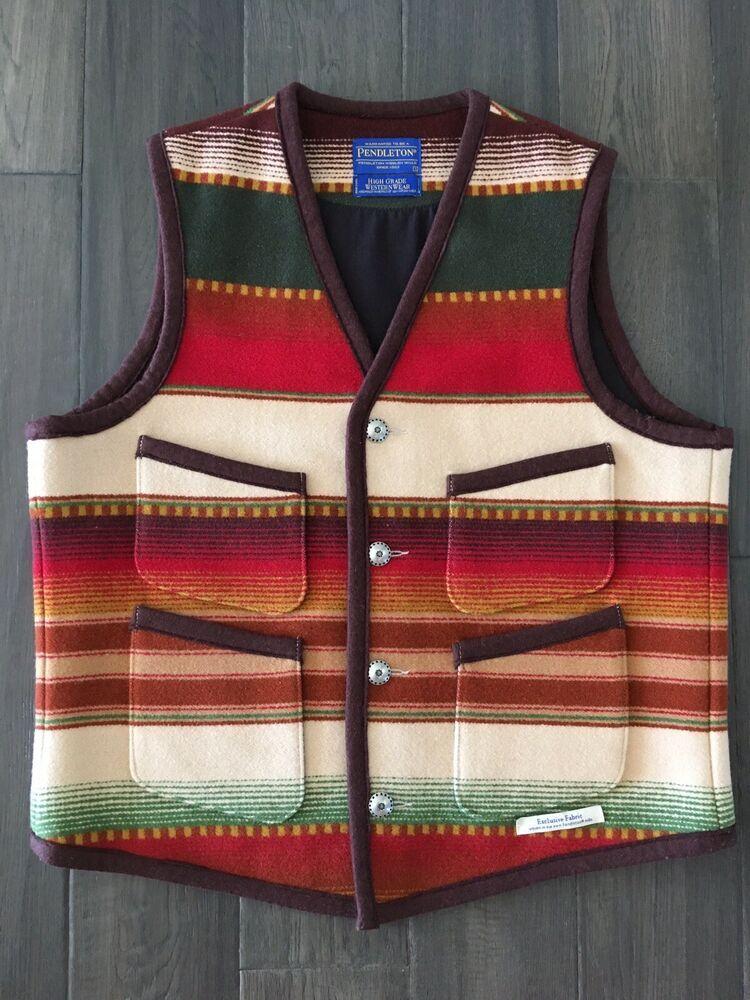 Vintage Pendleton Mens Denim Wool Blanket Vest High Grade Western Wear Size Large