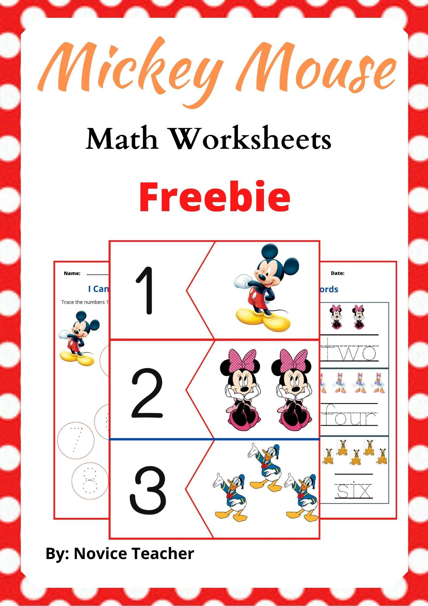Mickey Mouse Math Worksheets Freebie In