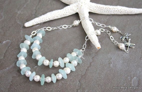 Necklace sea glass pale blue freshwater pearls by HollyMackDesigns, $253.00