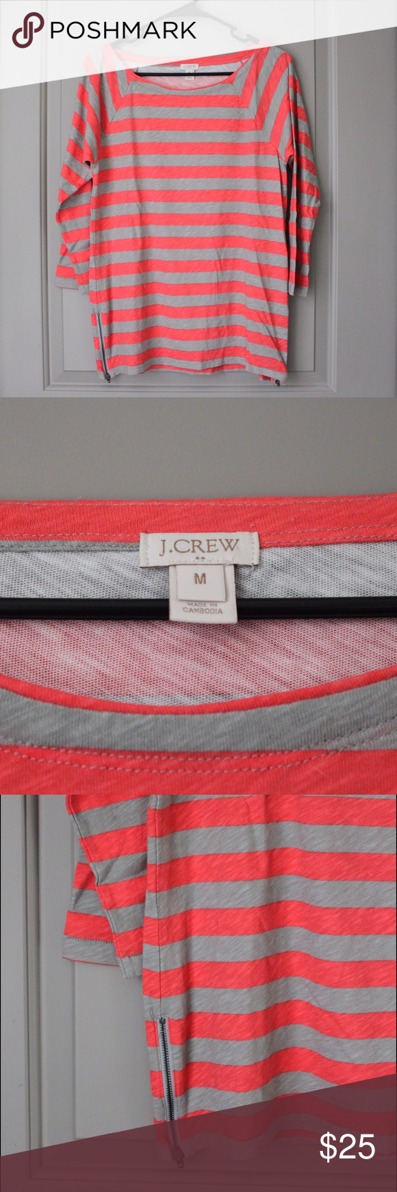 NWOT J. Crew 3/4 sleeve top Only worn once! Has zipper detail on both sides of the shirt. J. Crew Tops Tees - Long Sleeve