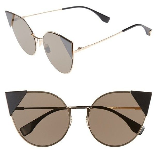 Women's Fendi 57Mm Lei Cat Eye Sunglasses (1,775 PEN) ❤ liked on Polyvore featuring accessories, eyewear, sunglasses, glasses, occhiali, oculos, rose gold, fendi eyewear, fendi sunglasses and cateye sunglasses