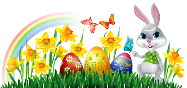 Easter Bunny With Daffodils Eggs And Grass Decor PNG