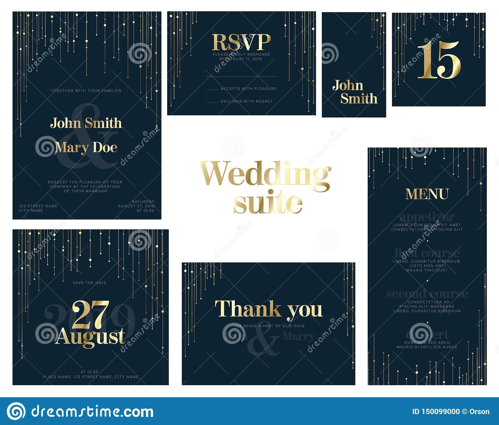 Wedding Suite Collection Card Templates Stock Vector For Celebrate It Templates Place Cards Best In 2020 Card Templates Free Business Card Templates Id Card Template