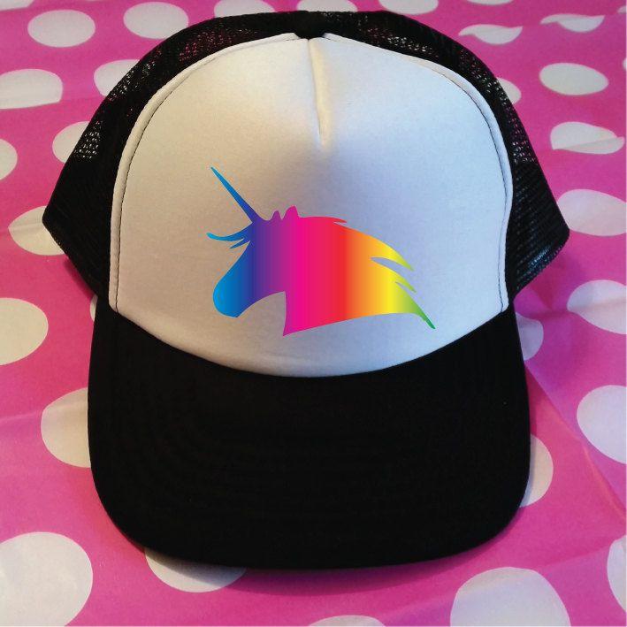 038d3589a5e Rainbow Unicorn Trucker Hat. Unicorn Hat. Vacation Hat. Beach Hat. Surf Hat.  Unicorns. Unicorn Gift. Ride A Unicorn. Snapback. by SoPinkUK on Etsy