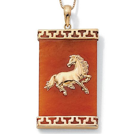 Horse lovers red jade and 14k gold necklace