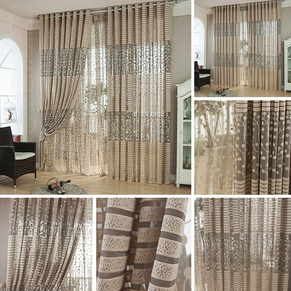 Floral Tree Leaf Fringe Pattern Tulle Curtain House Decor Door Panel Sheer Scarf Window Curtain -- BuyinCoins.com