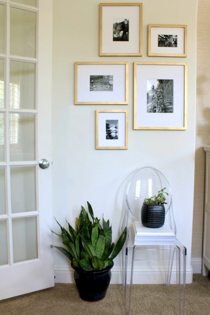 Gallery Wall With Target Frames Painted Gold With Black And White