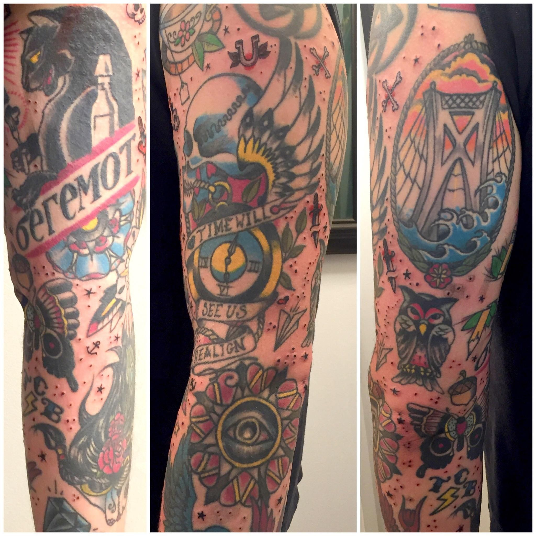 Neo traditional 3 4 sleeve done by keavan doc rivers at for Flesh electric tattoo
