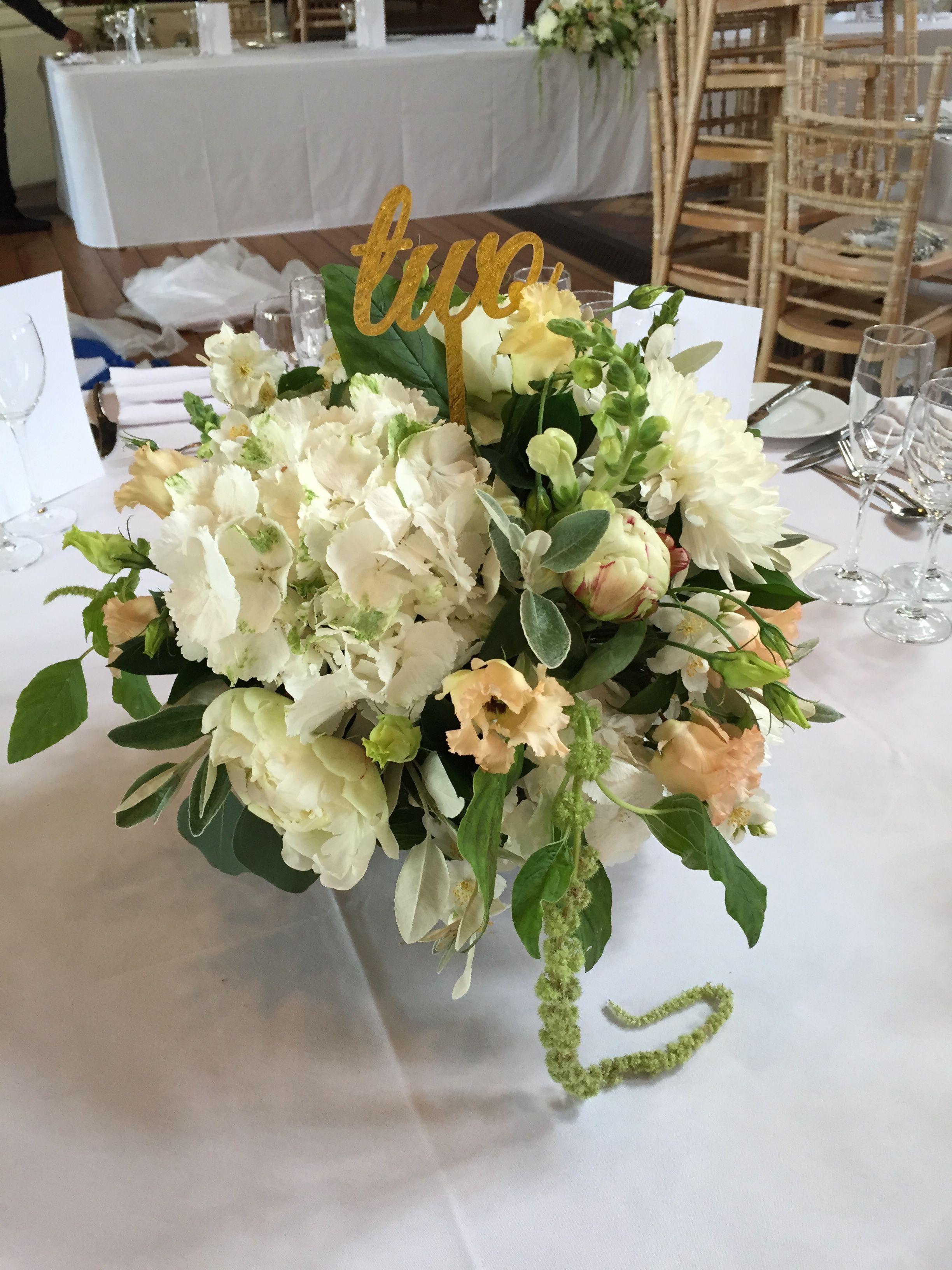 Ivory Nude And Peach Organic Style Wedding Centrepieces Hydrangea Amaranthus Lisianthus