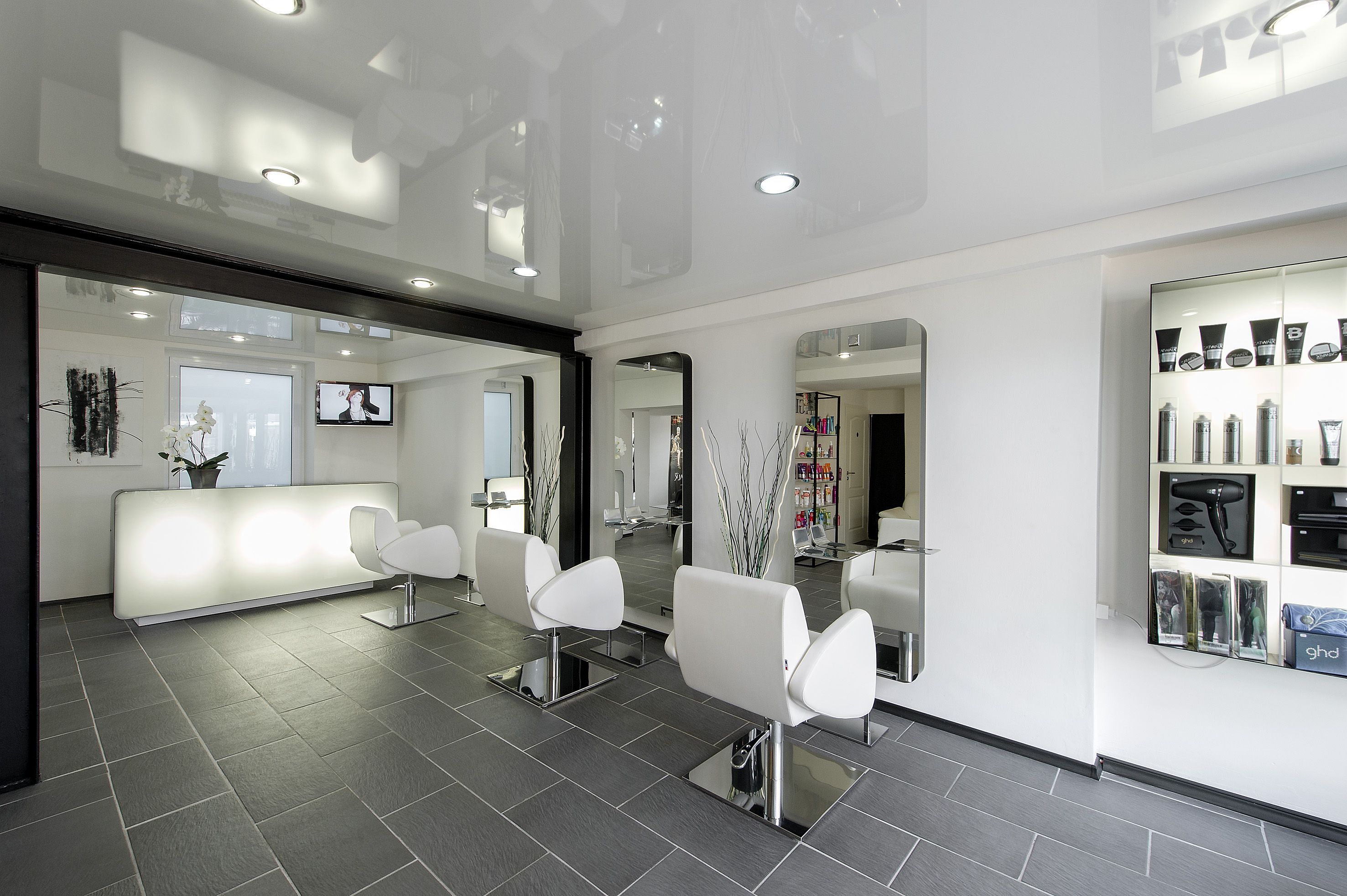 Salon furniture salon furniture made in france for Hair salon interior design photo