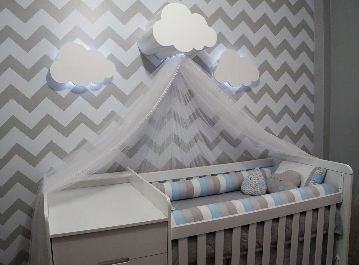 Dossel Feito Em Madeira Com Pintura Laqueada Medindo 40cm De  ~ Luminaria A Pilha Para Quarto E Pintura De Quarto De Bebê