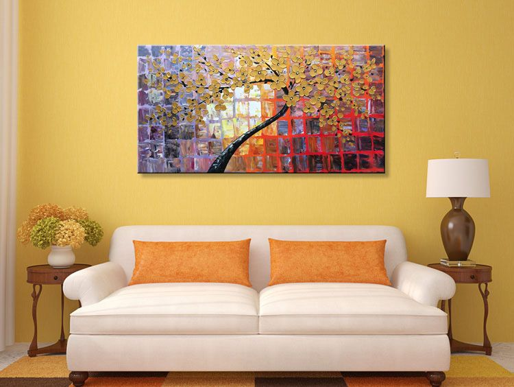 Hand Painted Modern Canvas Wall Art Floral Framed Large Abstract Oil ...