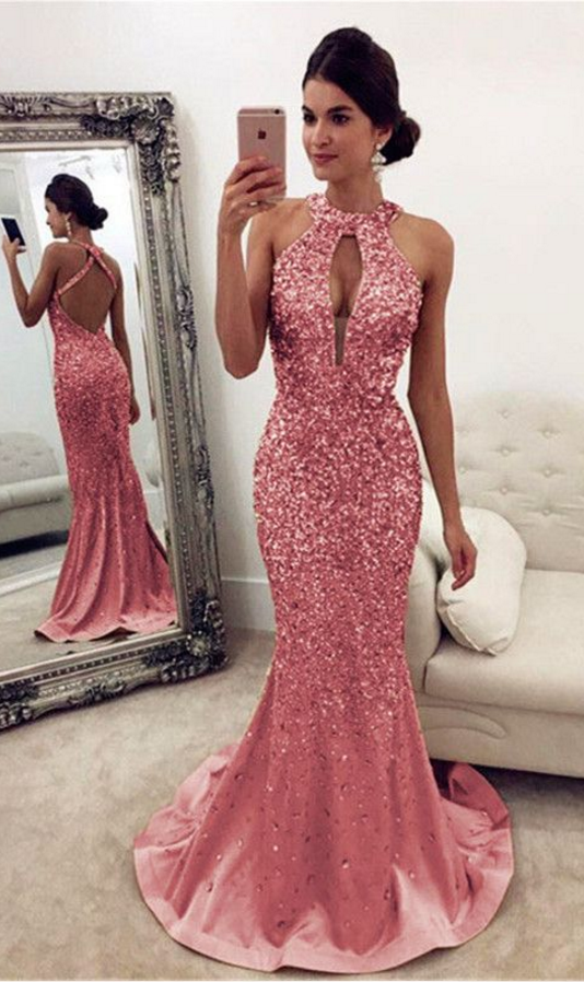 6837cb1af7ee Luxurious Crystal Beaded Prom Dresses,Halter Open Back Mermaid #prom  #promdress #dress #eveningdress #evening #fashion #love #shopping #art # dress #women ...