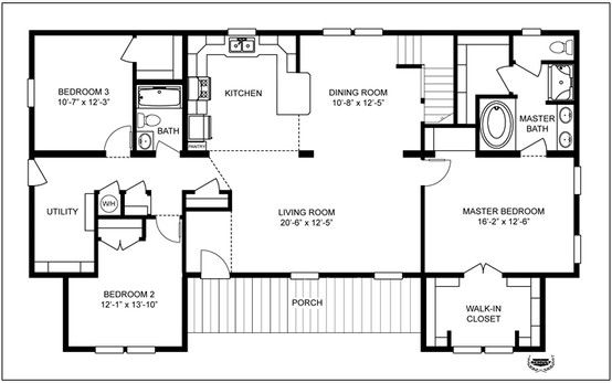The Oakwood Split Bedroom Feature For Kids In Our Modular Home Customize Your Modular Floor Plan 1797 Sq Modular Floor Plans Floor Plans House Floor Plans