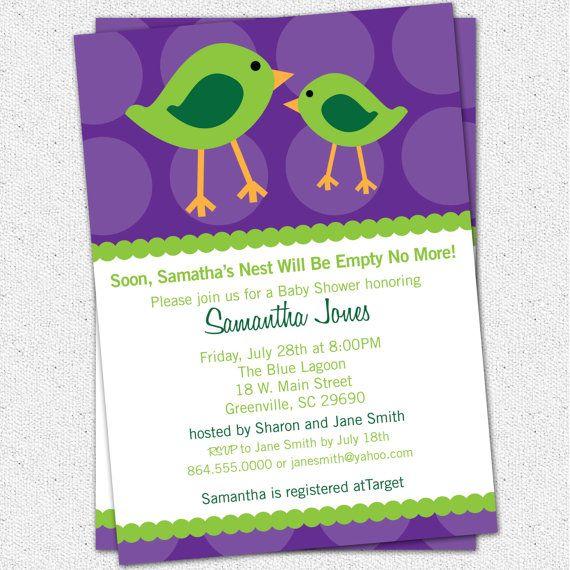 Printable baby shower invitation birds birdies diy digital lime printable baby shower invitation birds birdies diy digital lime green and purple filmwisefo