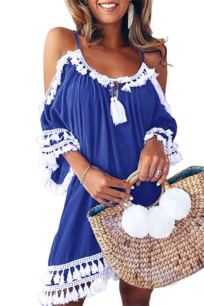 b89c9c4af0f19 Blue Boho Tassel Tunic Beach Cover up in 2019 | Beach Dresses ...