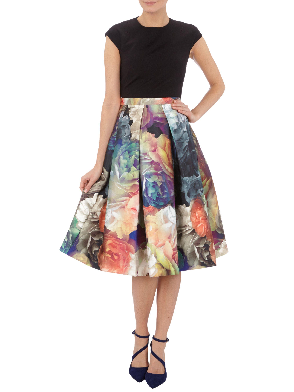 TED-BAKER Kleid mit Kontrast-Rockteil und Rosenmuster in Grau ...