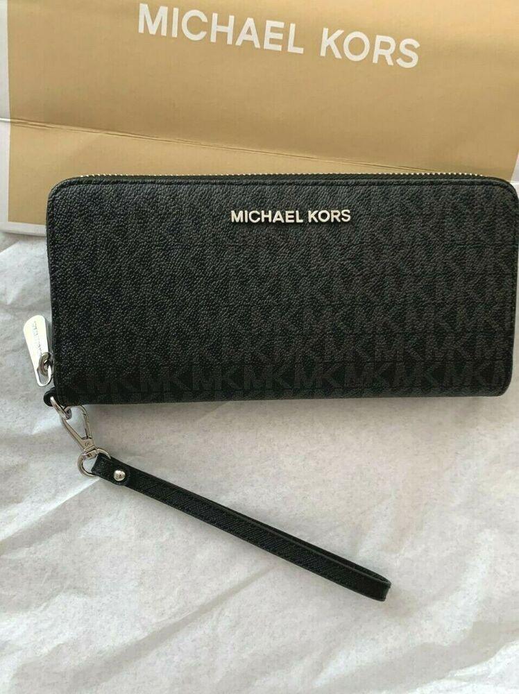4c49b3d7d3a340 New Large Michael Kors Jet Set Travel MK Black Zip Continental Wallet $188 # MichaelKors #Clutch