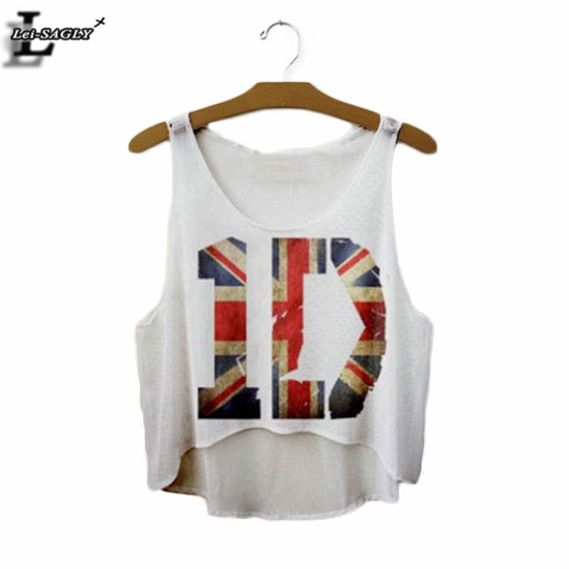 """""""1D"""" Harajuku Colorful Print T-shirt Summer Style Sleeveless Cropped Fashion Tee Hip Hop Punk Loose For Girl Crop Tops F1038"""