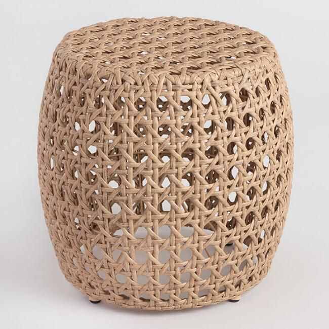 Natural All Weather Wicker Jasper Outdoor Accent Stool | World ...